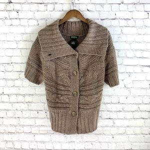 Eddie Bauer Brown Cable Knit Sweater Size L